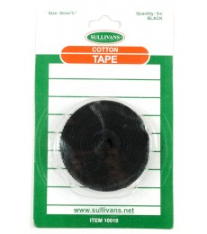 Cotton Tape - Black - 9mm