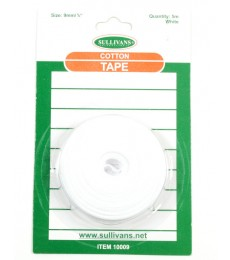 Cotton Tape - White - 9mm