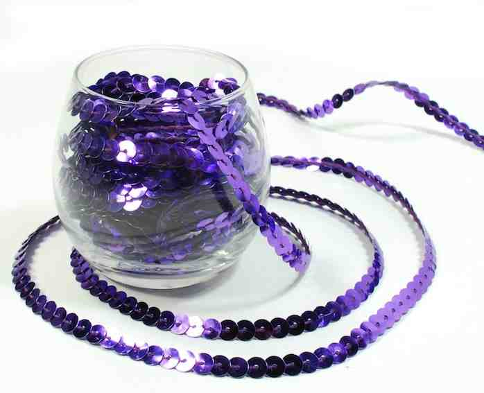 Purple Sequins String - 5 metres