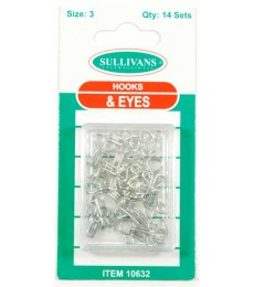 Hook & Eye's - Silver - size 3