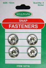 Snap Fasteners - Silver - 15mm